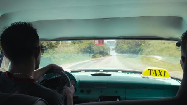 POV inside Cuba classic car. Travelling in an old American car taxi. Travel Like a Local - Brief