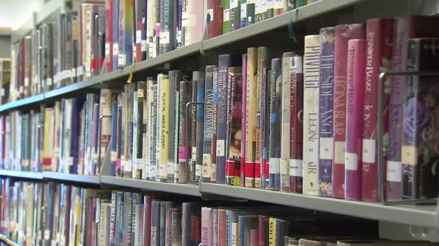 inside maywood library library books on shelf on october 27, 2013 in maywood, illinois - 公共図書館点の映像素材/bロール