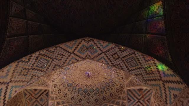 inside nasir al-mulk mosque (pink mosque) - ceiling stock videos & royalty-free footage
