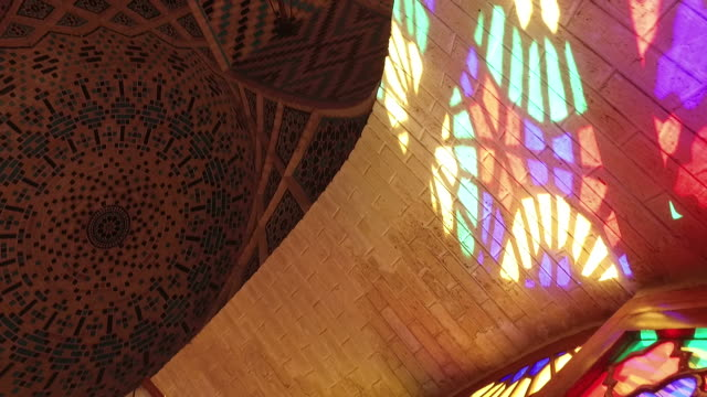inside nasir al-mulk mosque‌ (pink mosque) - mosque stock videos & royalty-free footage
