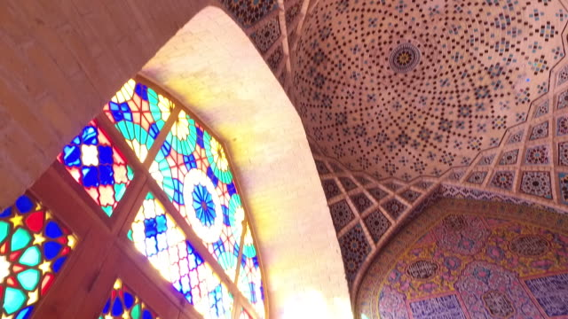 inside nasir al-mulk mosque‌ (pink mosque) - iran stock videos and b-roll footage