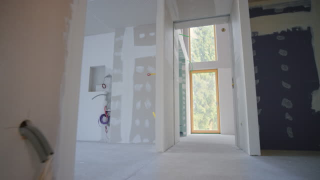 Inside of a home after the drywall stage