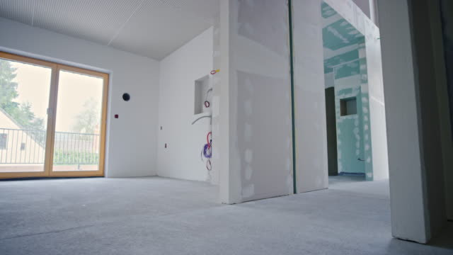 Inside of a house during a drywall phase