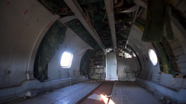 inside of abandoned airplane - air vehicle stock videos & royalty-free footage