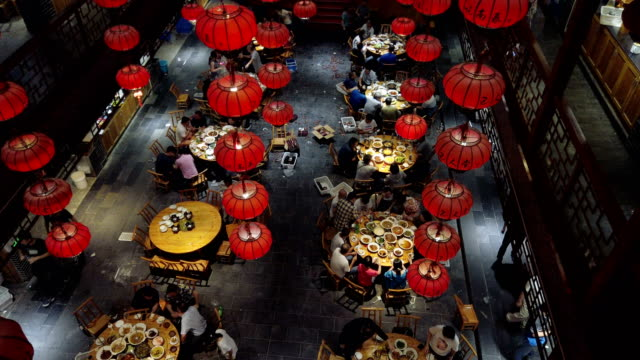 stockvideo's en b-roll-footage met inside of chinese restaurant,hubei,china. - chinese cultuur
