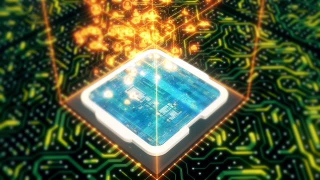 innenseite des computerprozessors mit leiterplatte - connection in process stock-videos und b-roll-filmmaterial