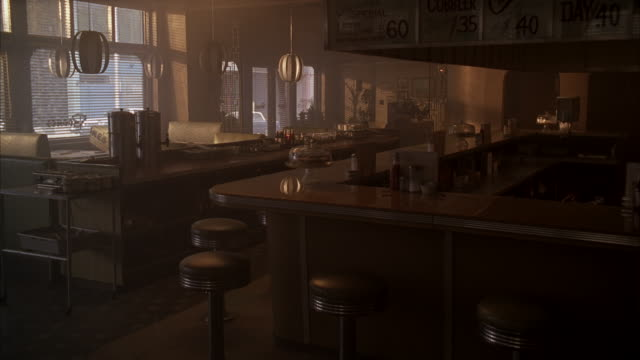 ms inside of empty restaurant / unspecified - bar video stock e b–roll