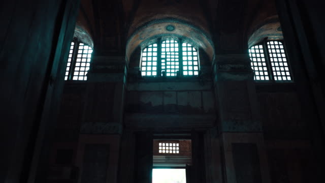 inside of hagia sophia after converted back into a mosque in 2020 - building entrance stock videos & royalty-free footage