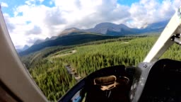 Inside of Helicopter flying on canadian rockies in Assiniboine provincial park