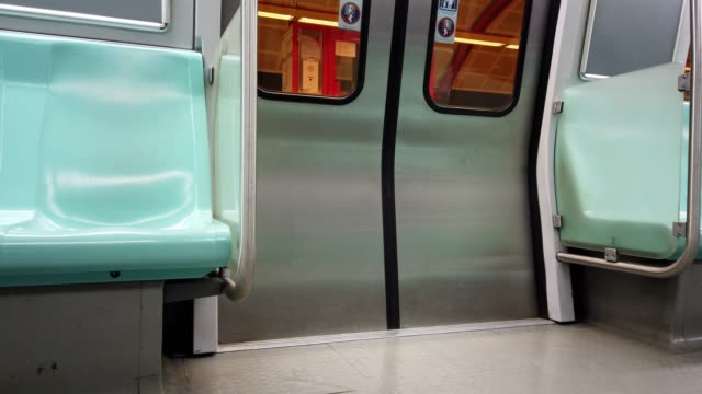 inside of subway train - sottosuolo video stock e b–roll