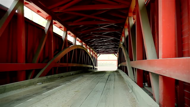 inside of the covered bridge. close up - wood material stock videos & royalty-free footage