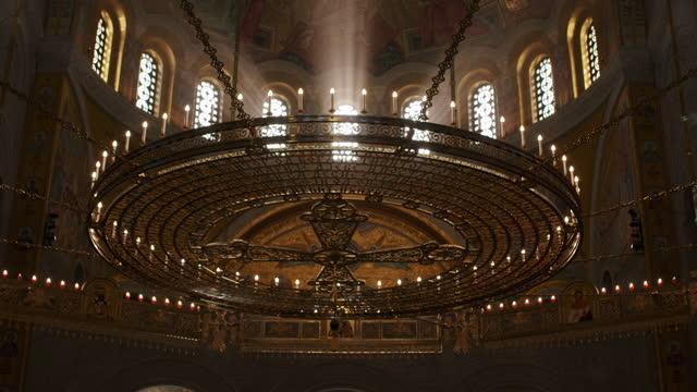 inside of the crypt of saint sava church - belgrade - crypt stock videos & royalty-free footage
