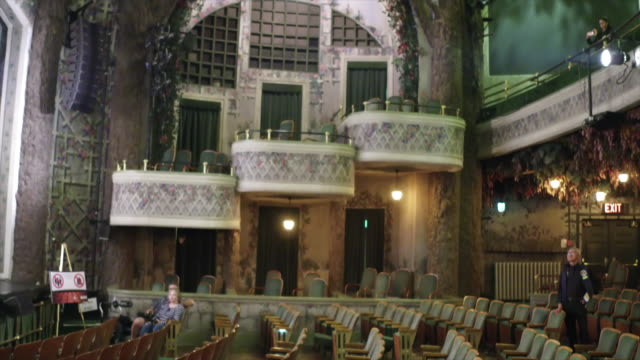 inside of the elgin and winter garden theaters. detail of the winter garden. they are the only edwardian stacked theaters left in the world. seats... - landmark theatres stock videos & royalty-free footage