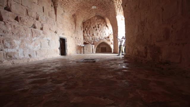 inside of the muslim castle ajloun in jordan - circa 12th century stock videos & royalty-free footage