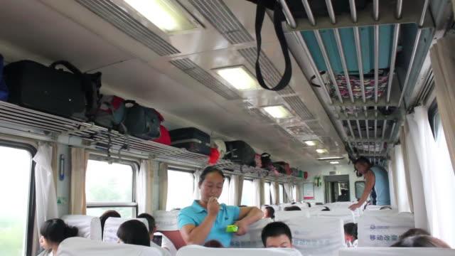 ws inside of train/inner mongolia,china - interno di treno video stock e b–roll