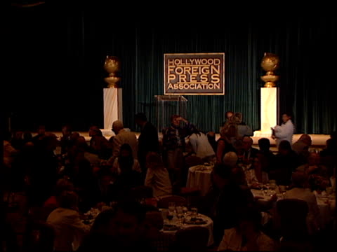 inside party at the hollywood foreign press association luncheon at the regent beverly wilshire hotel in beverly hills, california on august 24, 2000. - regent beverly wilshire hotel stock videos & royalty-free footage