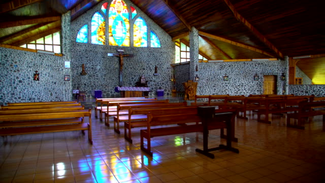 inside religious catholic church building vaitahu tahuata island - french overseas territory stock videos & royalty-free footage