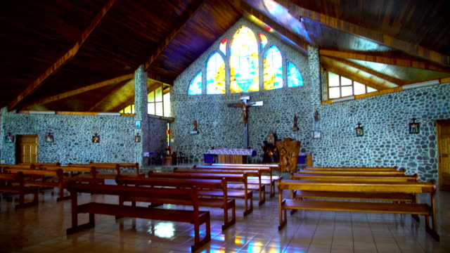 inside religious catholic church building vaitahu tahuata island - französisch polynesien stock-videos und b-roll-filmmaterial