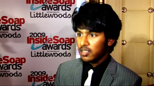 vídeos de stock e filmes b-roll de winners' room interviews england london int * * flash himesh patel interview sot on eastenders so many brilliant actors / on eastenders winning lots... - eastenders