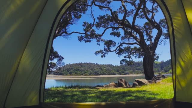 Inside tent view at Mahurangi Regional Park, Auckland, New Zealand.