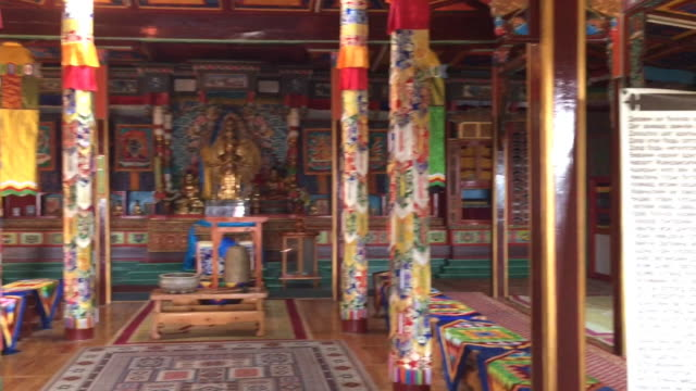 inside the aryabal buddhist meditation center in terelj national park, mongolia - ulan bator stock videos & royalty-free footage