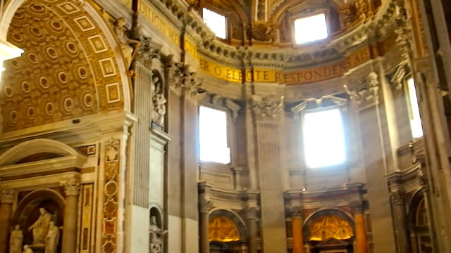 inside the basilica of st peter in vatican, rome - cathedral stock videos & royalty-free footage