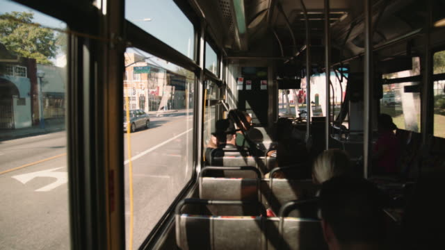 vídeos de stock, filmes e b-roll de inside the bus in santa monica avenue - bus
