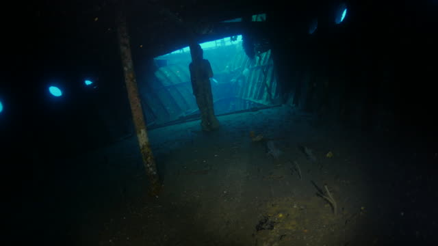 inside the cabin of boga shipwreck underwater (4k) - shipwreck stock videos & royalty-free footage