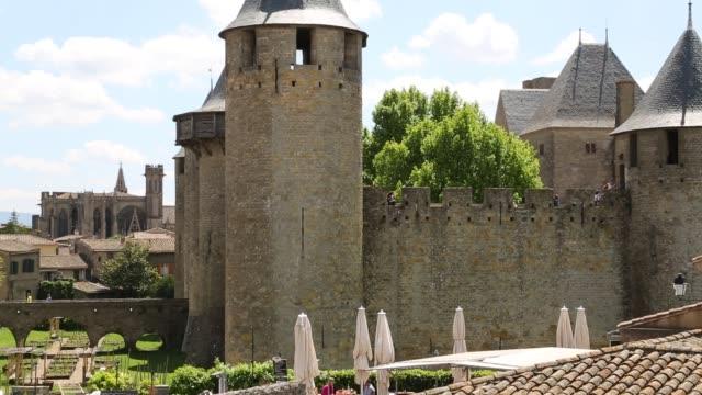 inside the cité de carcassonne - carcassonne stock videos and b-roll footage
