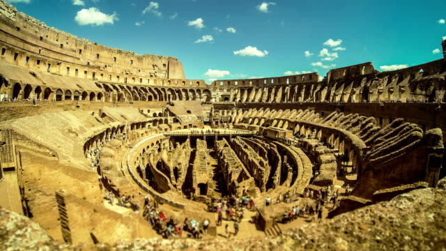stockvideo's en b-roll-footage met inside the coliseum of rome timelapse - colosseum