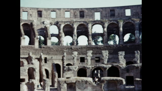 1960 inside the colosseum, rome, italy home movie - ruined stock videos & royalty-free footage