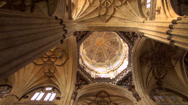 inside the dome of the new cathedral of salamanca - ceiling stock videos & royalty-free footage