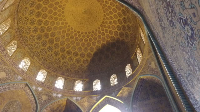 inside the dome of the sheikh lotfollah mosque - surrounding wall stock videos & royalty-free footage