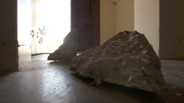 Inside the earthquake damaged St Oswald's Memorial Church at Wharanui near Kaikoura