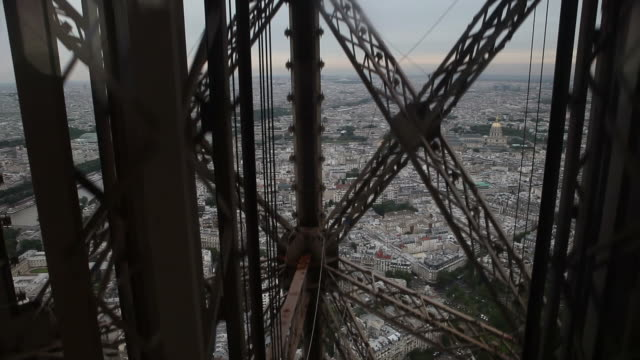 Inside the Eiffel Tower in Paris France