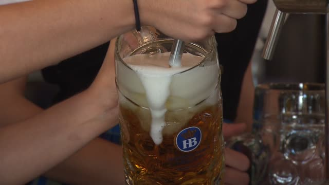 inside the hofbrauhaus brewery and restaurant waitress filling beer stein from tap on october 02 2013 in rosemont illinois - beer stein stock videos and b-roll footage