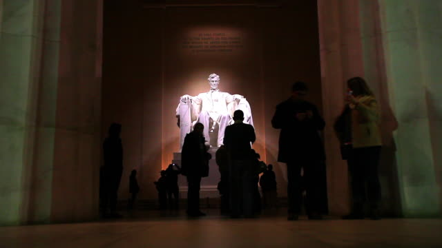 Inside the Lincoln Memorial at night in Washington DC