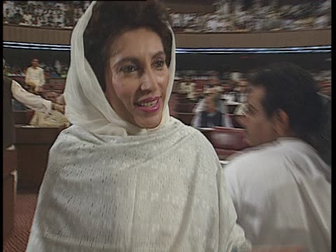 inside the national assembly of pakistan benazir bhutto greets nawaz sharif - pakistan stock videos & royalty-free footage