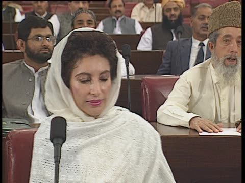 inside the national assembly of pakistan leader of the opposition benazir bhutto is called - pakistan stock videos & royalty-free footage