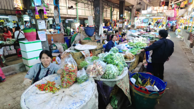 inside the pak khlong talad flower market - bangkok stock videos & royalty-free footage
