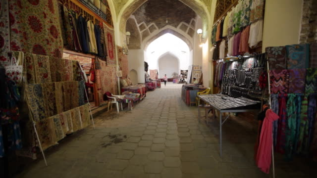 inside the taqi-sarrafon covered market in bukhara, uzbekistan - bukhara stock videos & royalty-free footage