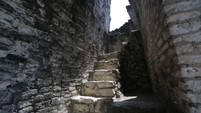 Inside the Xunantunich temple in Belize