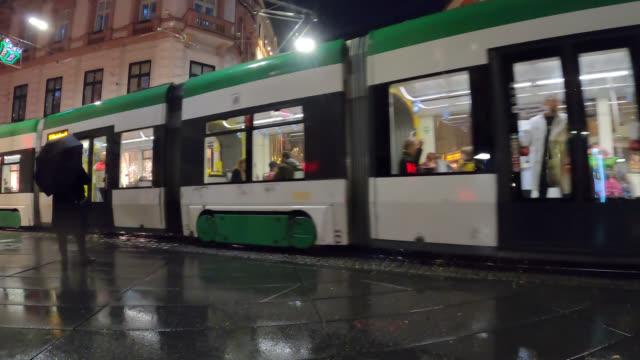 vídeos de stock, filmes e b-roll de inside view of city tram - austria
