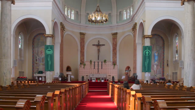 inside view of the 'holy name parish' located in danforth avenue seen on july 20, 2019; in toronto, ontario, canada. danforth avenue and the... - local landmark stock videos & royalty-free footage
