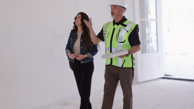 inspecting new construction - inspector stock videos & royalty-free footage