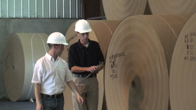 inspecting paper rolls - paper mill stock videos and b-roll footage