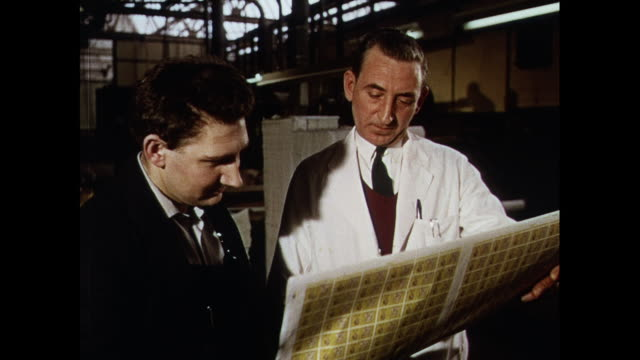 montage inspecting proofs of postage stamps at printing press in united kingdom - briefmarke stock-videos und b-roll-filmmaterial