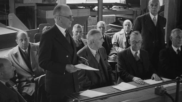 montage inspection and opening of a new coal washery and colliery buildings / calverton, england, united kingdom - 1952 stock videos & royalty-free footage