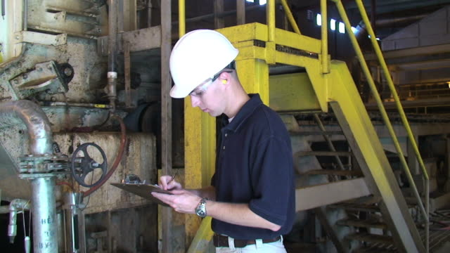 inspector or foreman - paper mill stock videos and b-roll footage