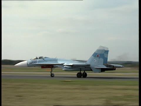 UN inspectors/Iraqi airforce raids UN inspectors/Iraqi airforce raids EXT Farnborough Airshow SEQ Su27 aircraft take off